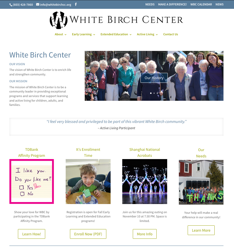 white birch center website nh