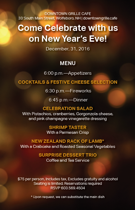 New Year's Eve Dinner Invitation and Menu